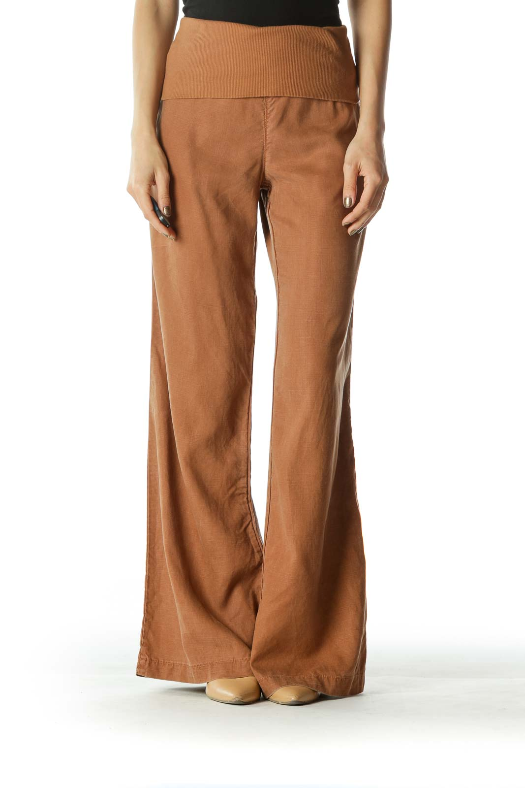 Brown Wide Leg Pants  Front