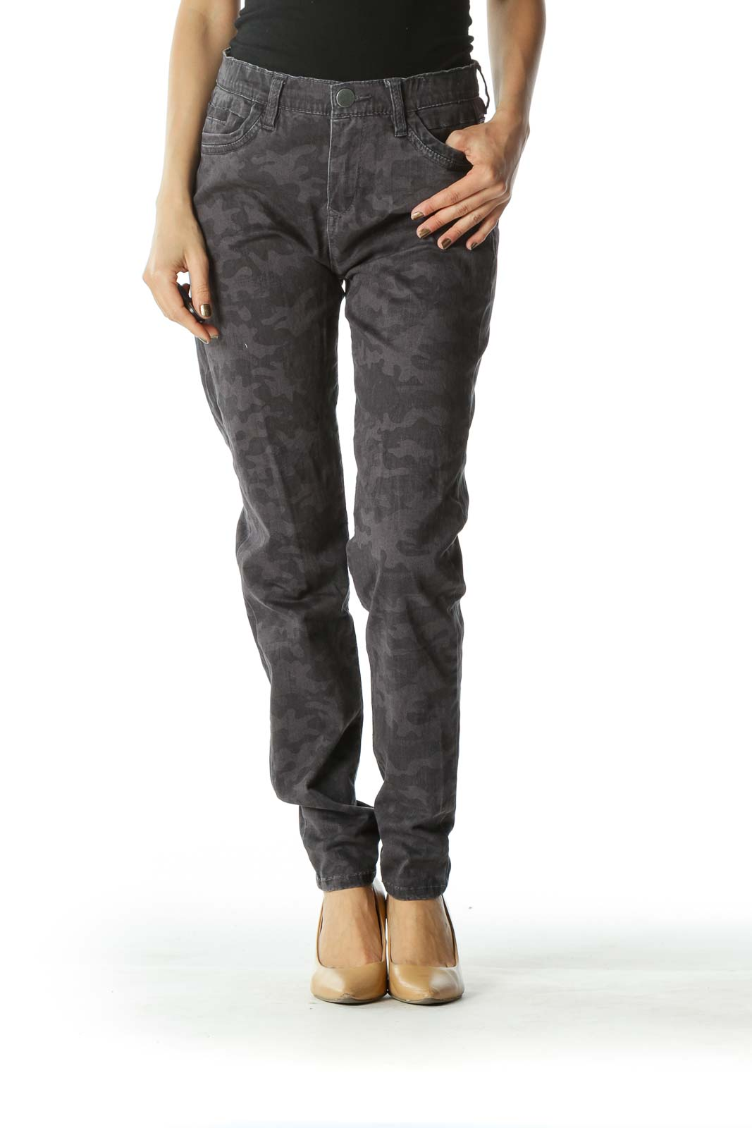 Black and Gray Faded Camouflage Skinny Pants  Front