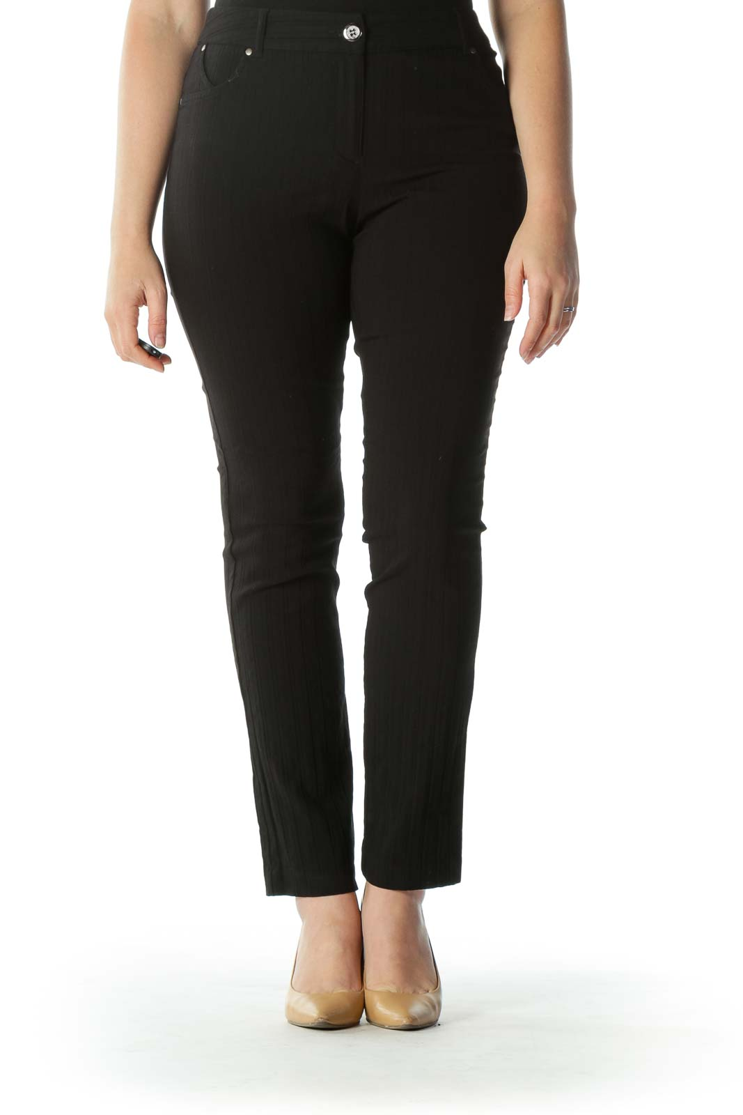 Black Textured Straight Leg Pant  Front