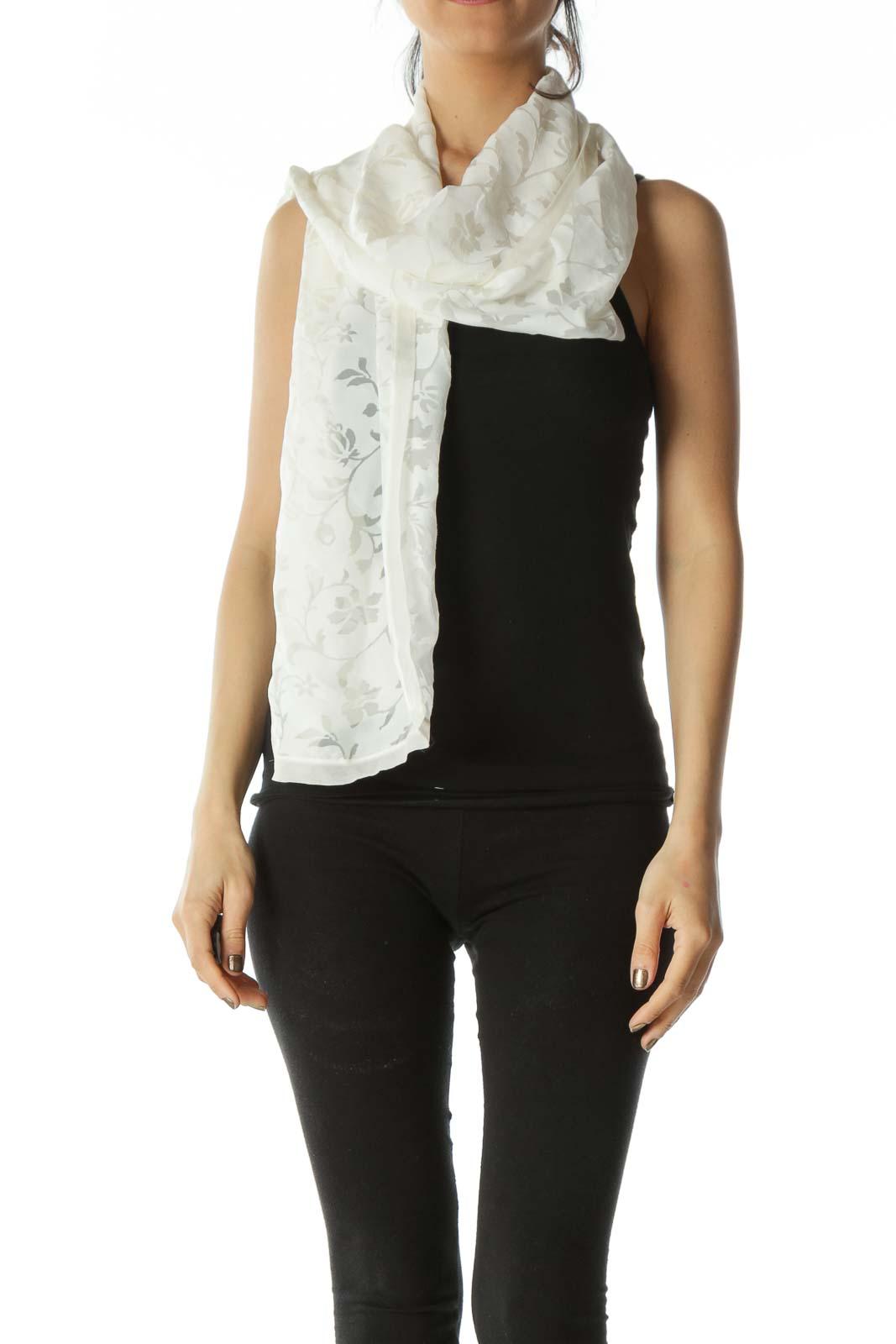 Cream Designer Silk Floral Scarf Front