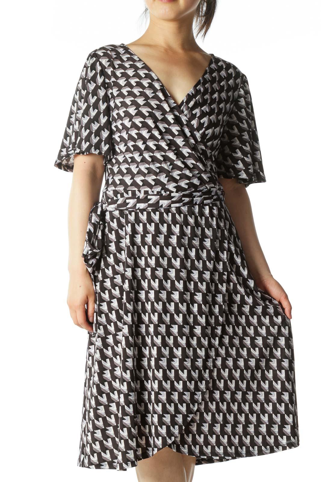 Gray/Blue/Black Geometric-Print Wrap Day Dress Front