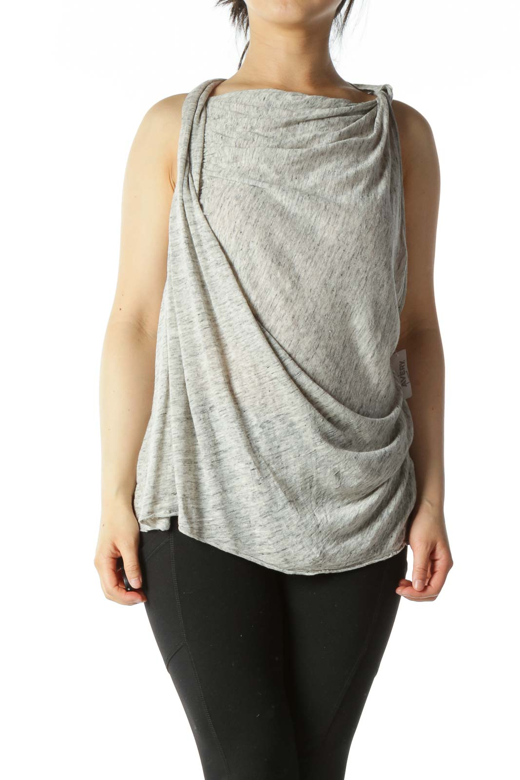 Heather Grey Cowl-Neck Draped Sleeveless Top Front