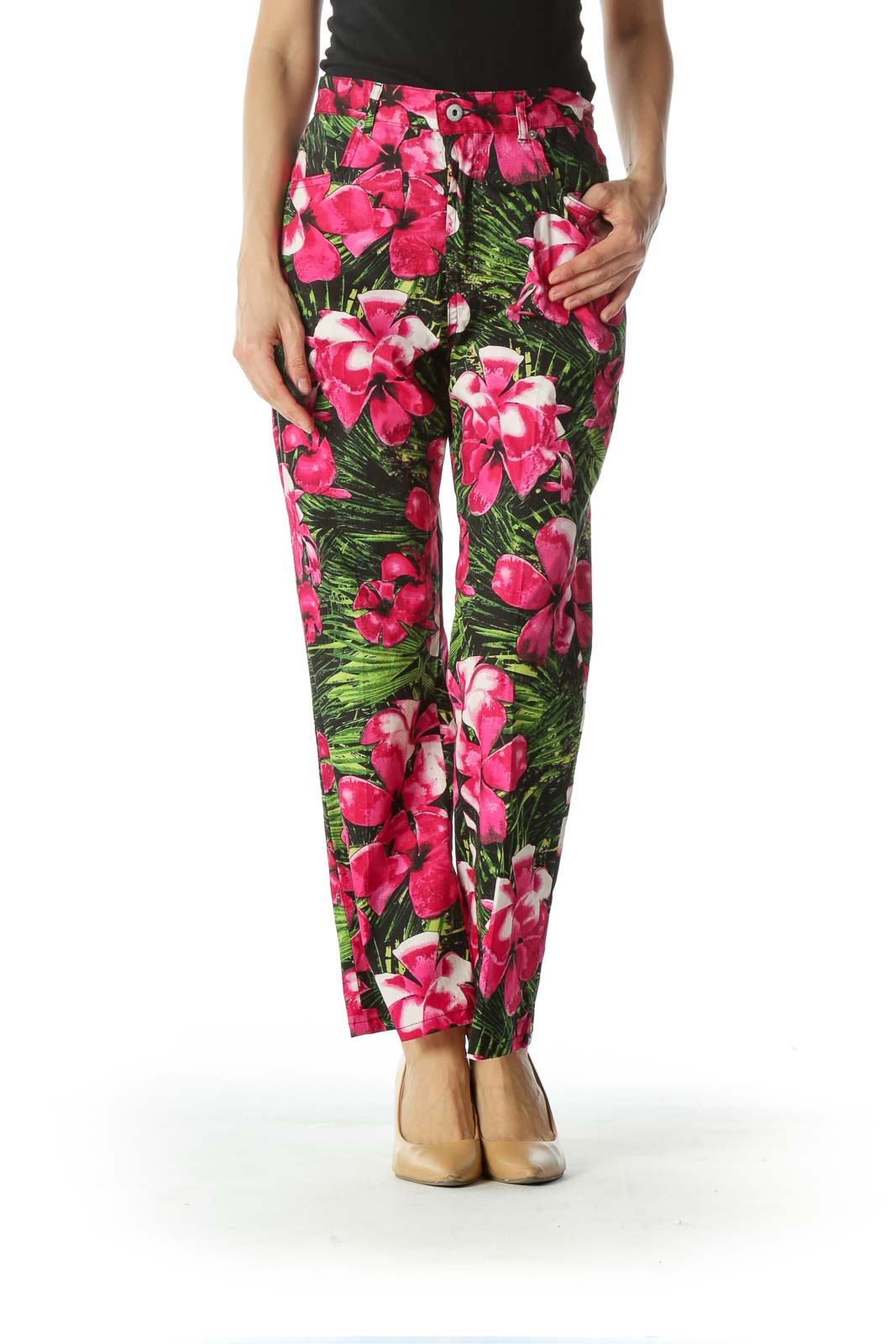 Pink and Green Floral Print Ankle Cut Pant  Front