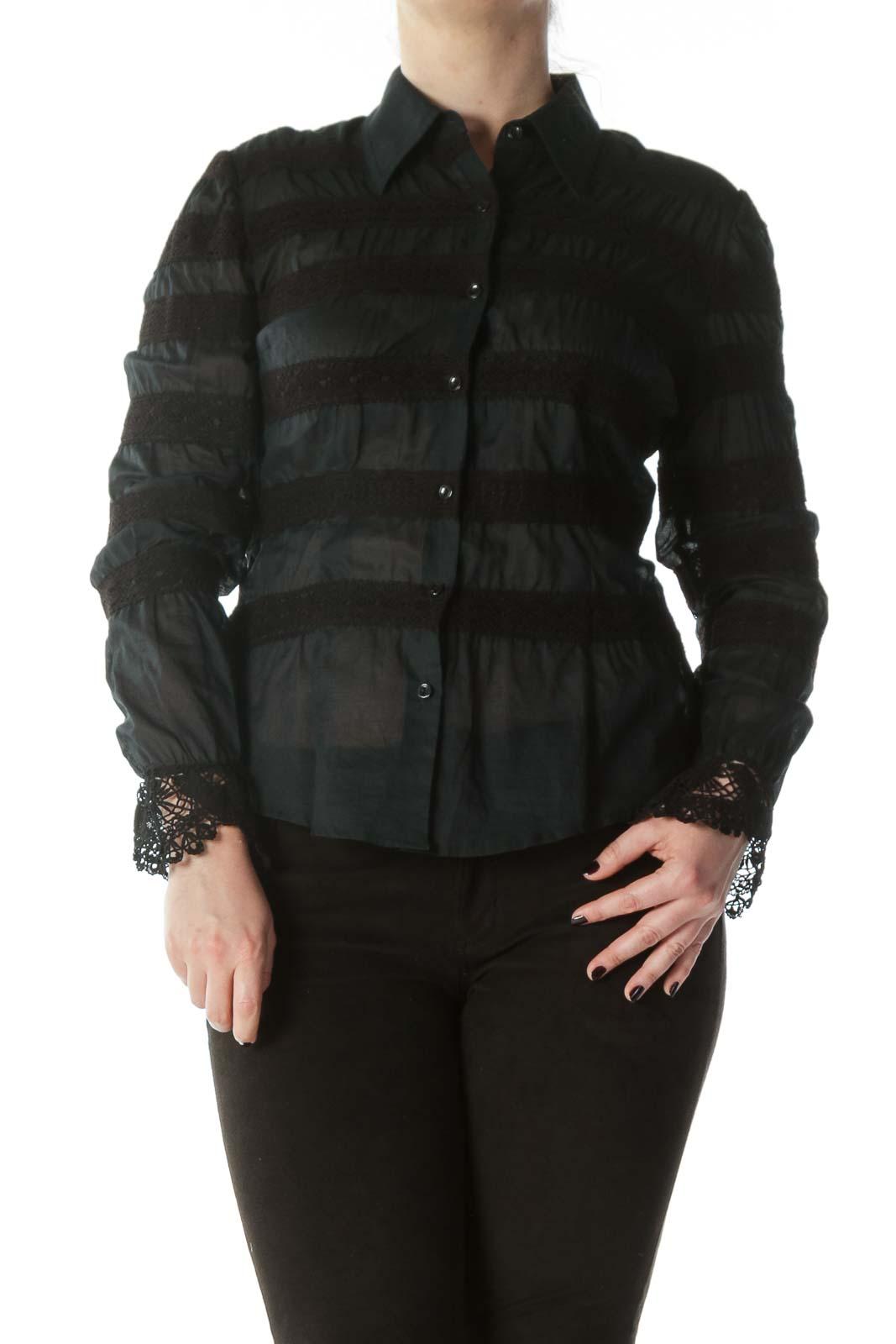 Navy Blue Black 100% Cotton Lace Appliques Shirt Front