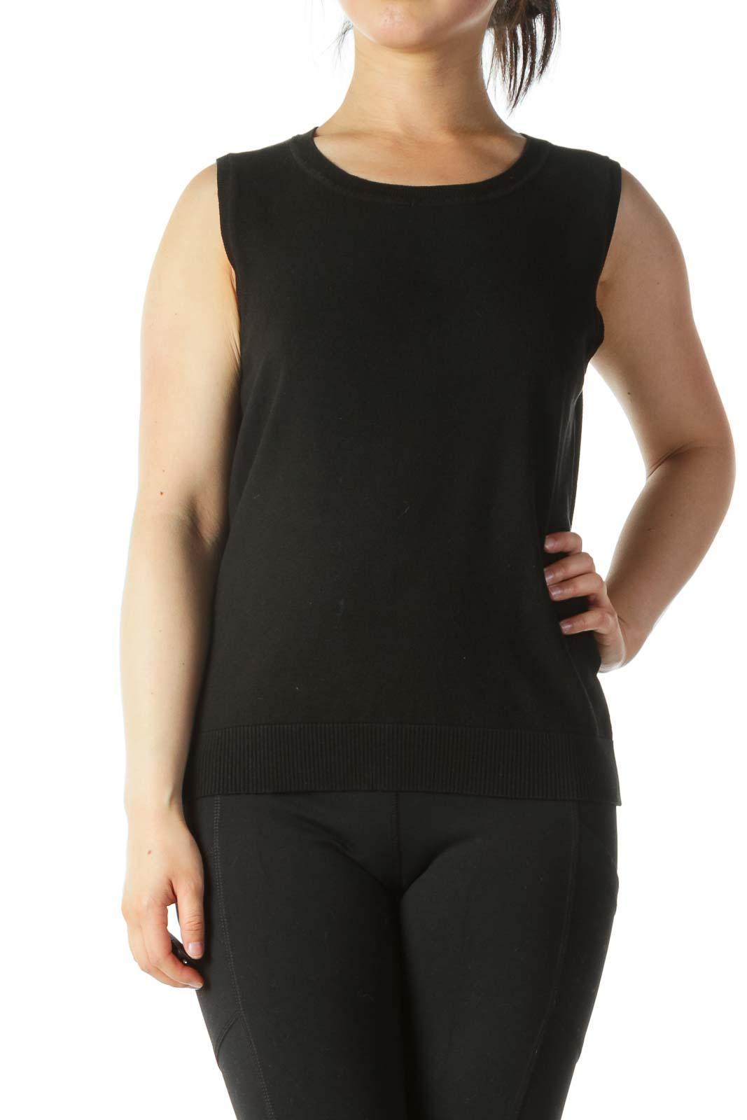 Black Stretch Knit Vest Front