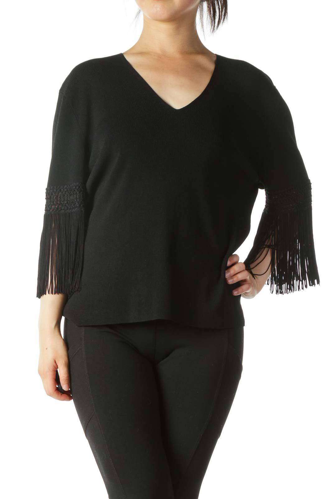 Black Sleeve Tassel Detail V-Neck Textured Top Front