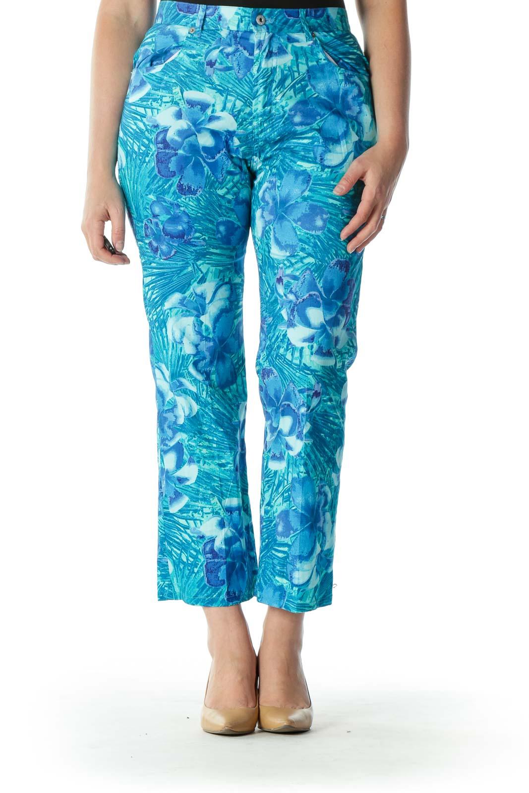 Blue Floral Print Ankle Cut Pant  Front