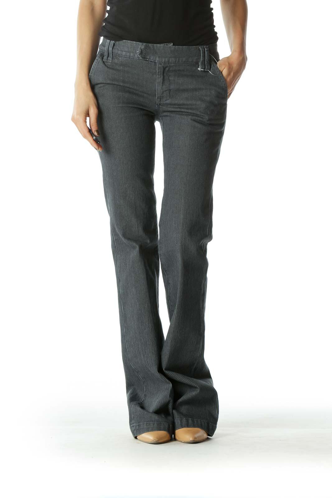 Gray Striped Wide Leg Denim  Front
