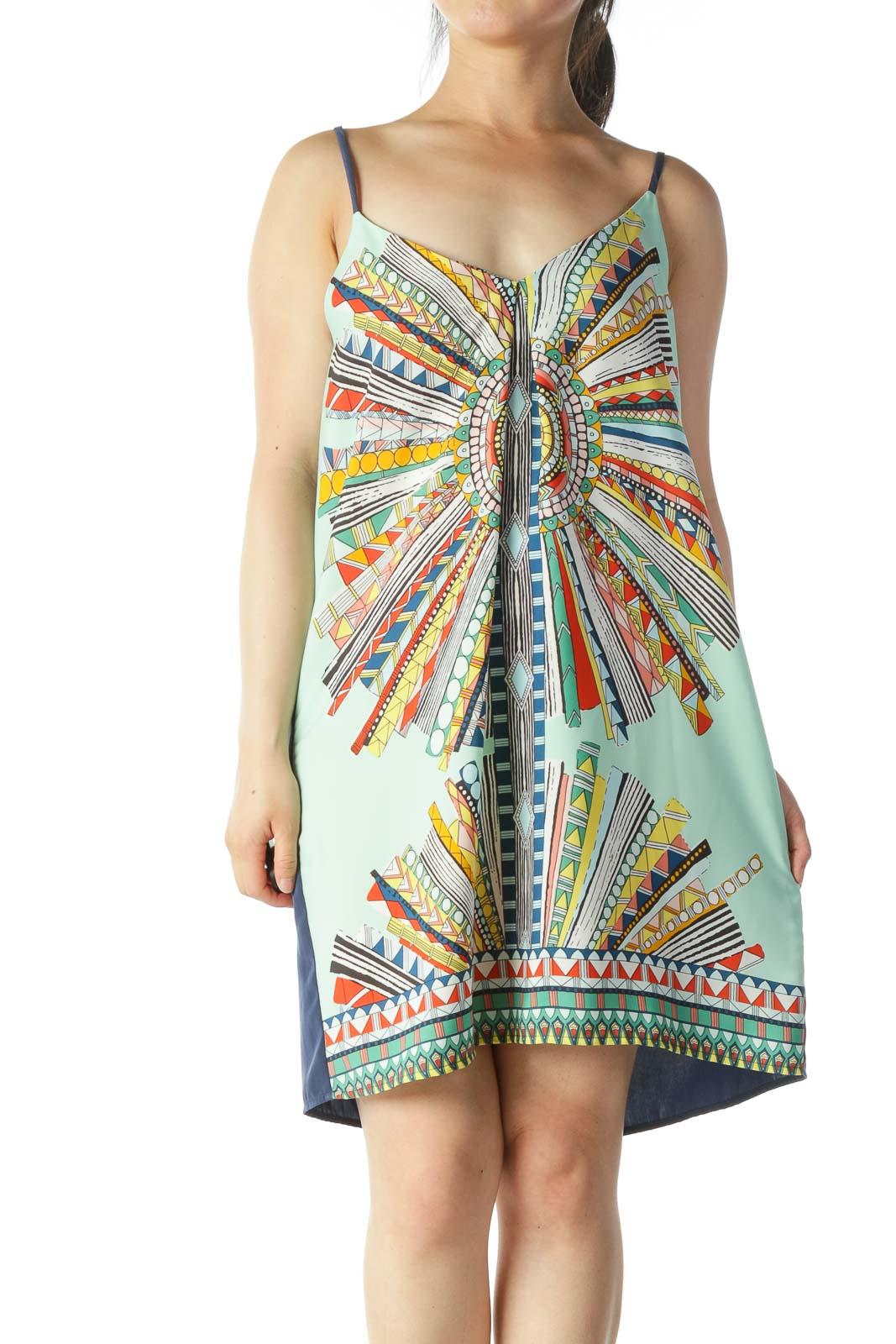 Multicolored V-Neck Halter-Knot Dress Front