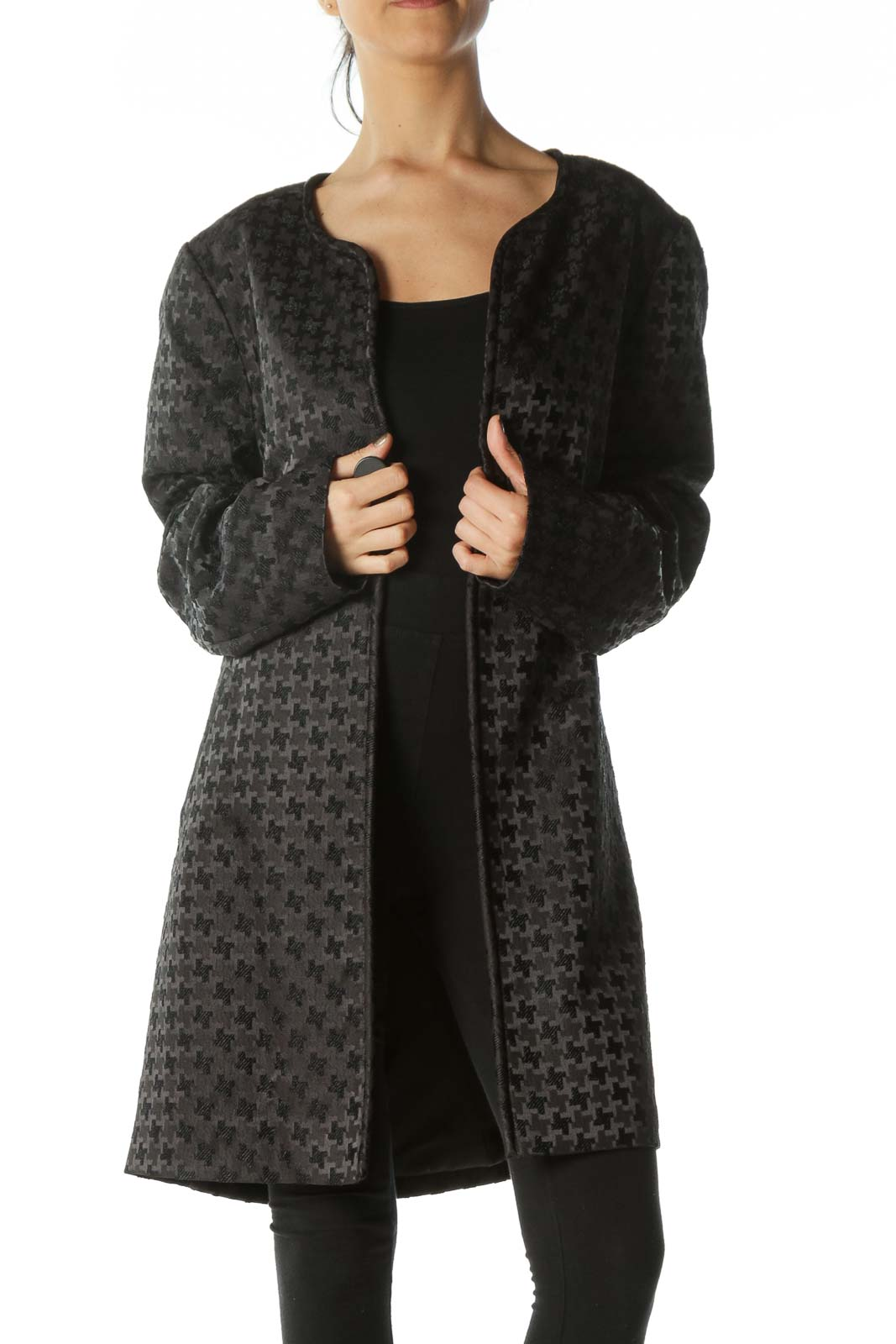 Black Embossed-Pattern Round-Neck Structured Coat Front