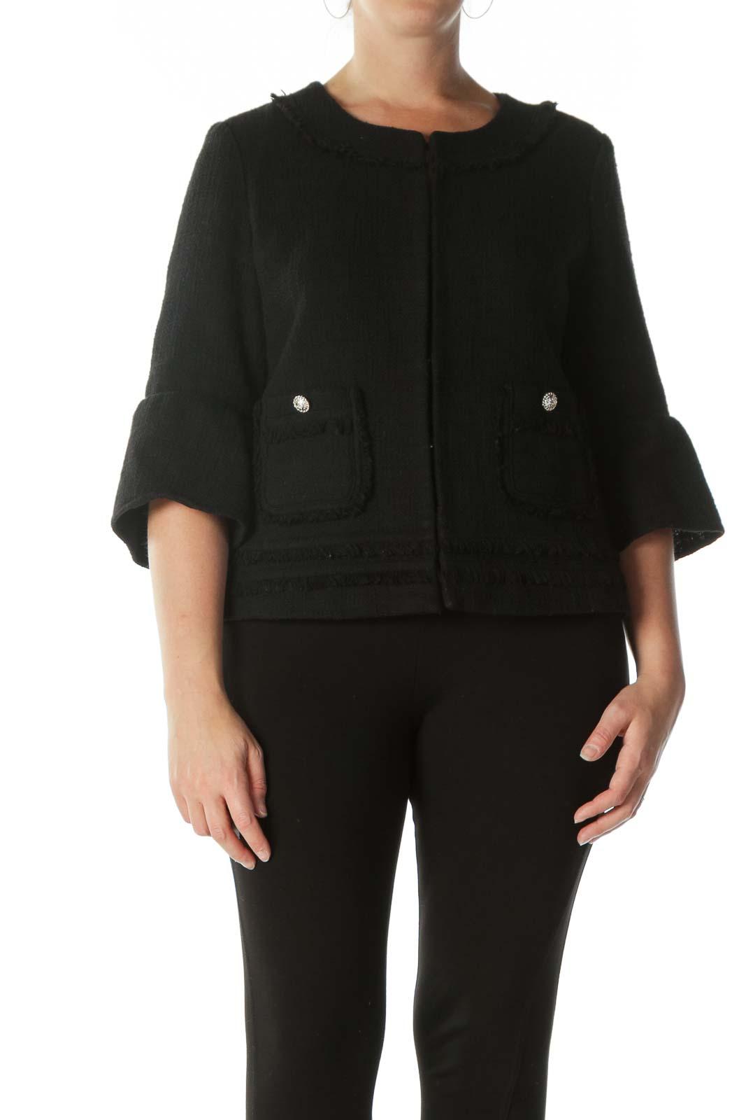 Black Hooks-Closure 3/4-Sleeve Raw-Hem Blazer Front