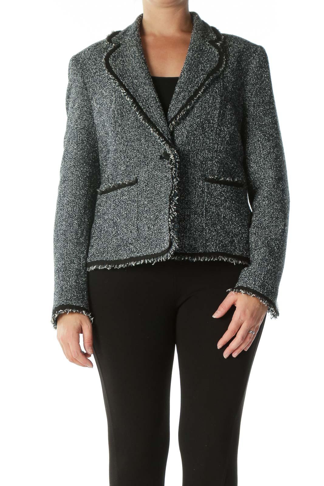 Black Blue White Knit Raw-Hem Pocketed Blazer Front
