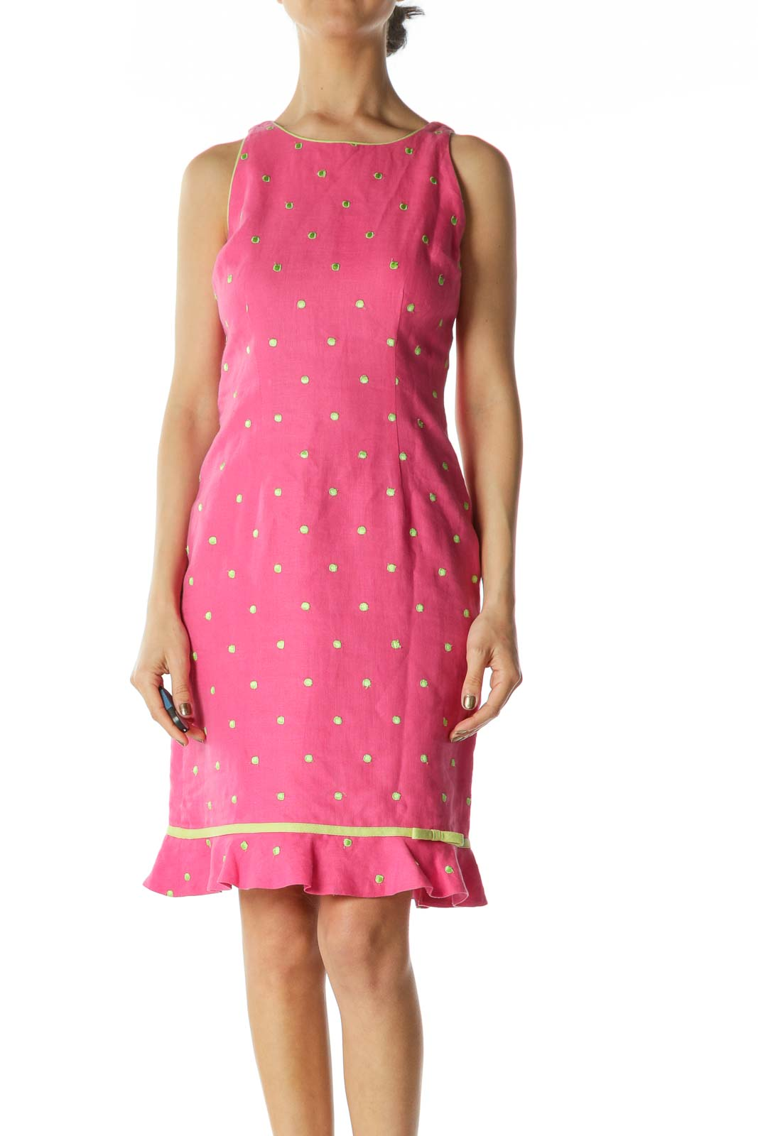 Pink/Green 100% Linen Embroidered-Polka Dots Dress Front