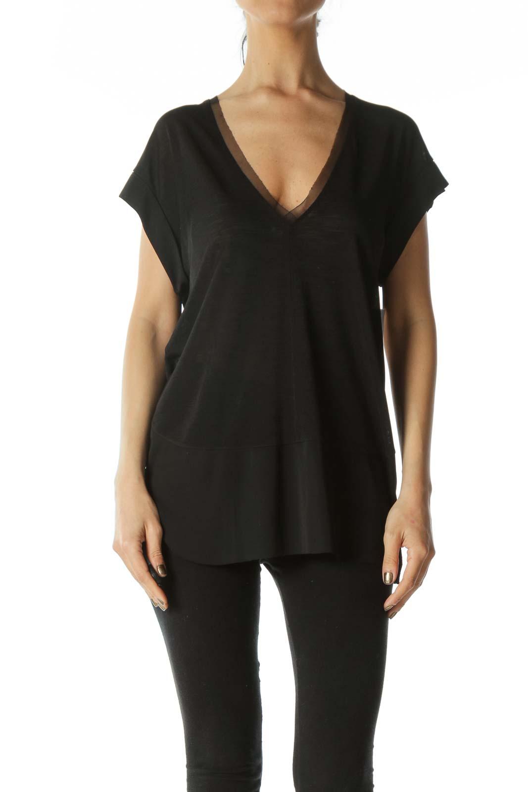 Black Lace-Hem Translucent V-Neck Tee Front