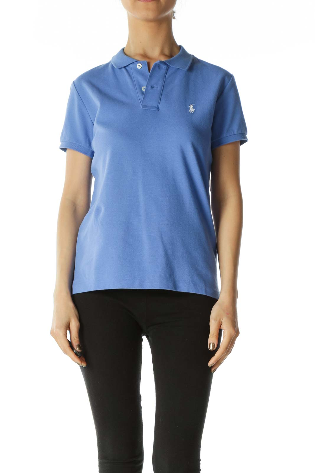 Cobalt Blue Logo Skinny Polo with Taped Sleeves Front