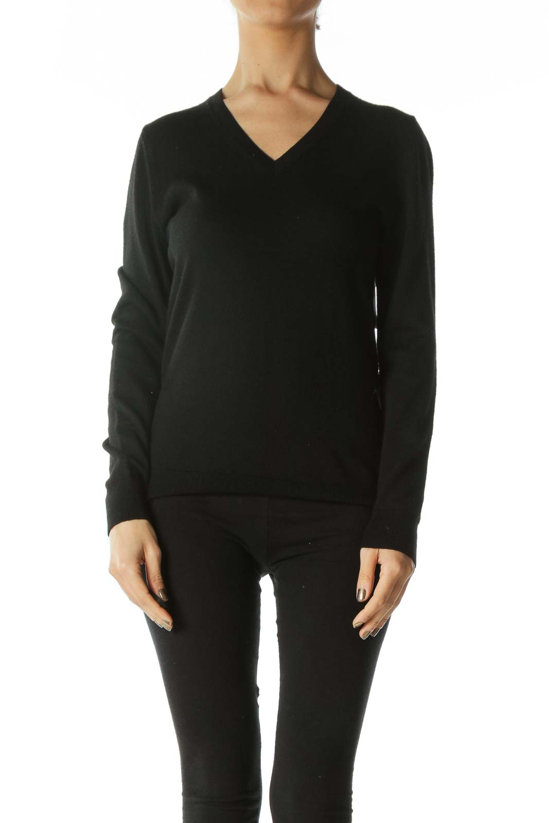 Black Extra Fine Merino Wool V-Neck Sweater Front