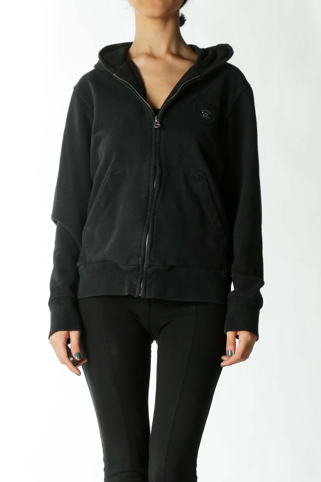 Black Zipped Pocket Hooded Jacket  Front