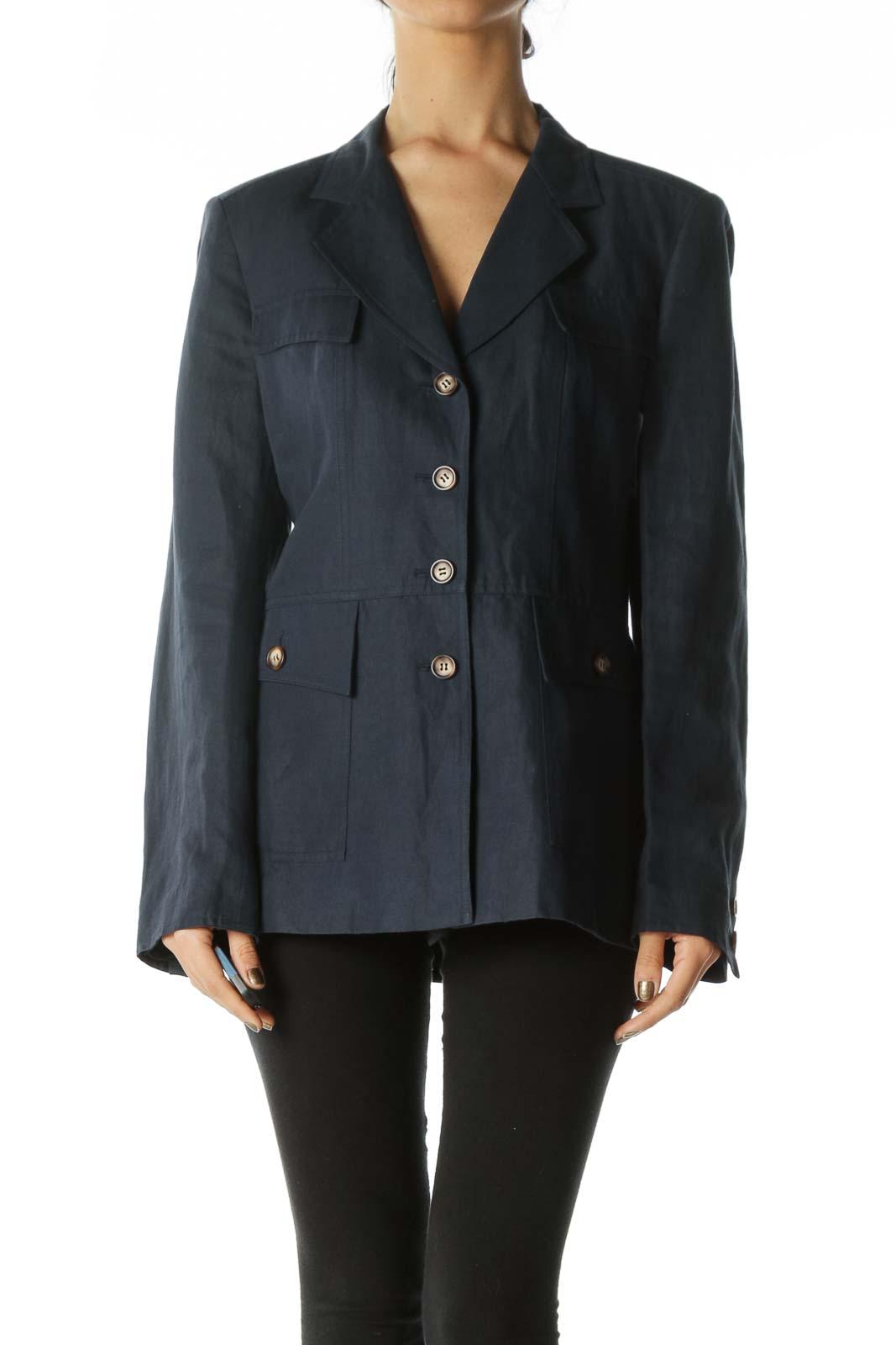 Navy Button Pocket Blazer Front