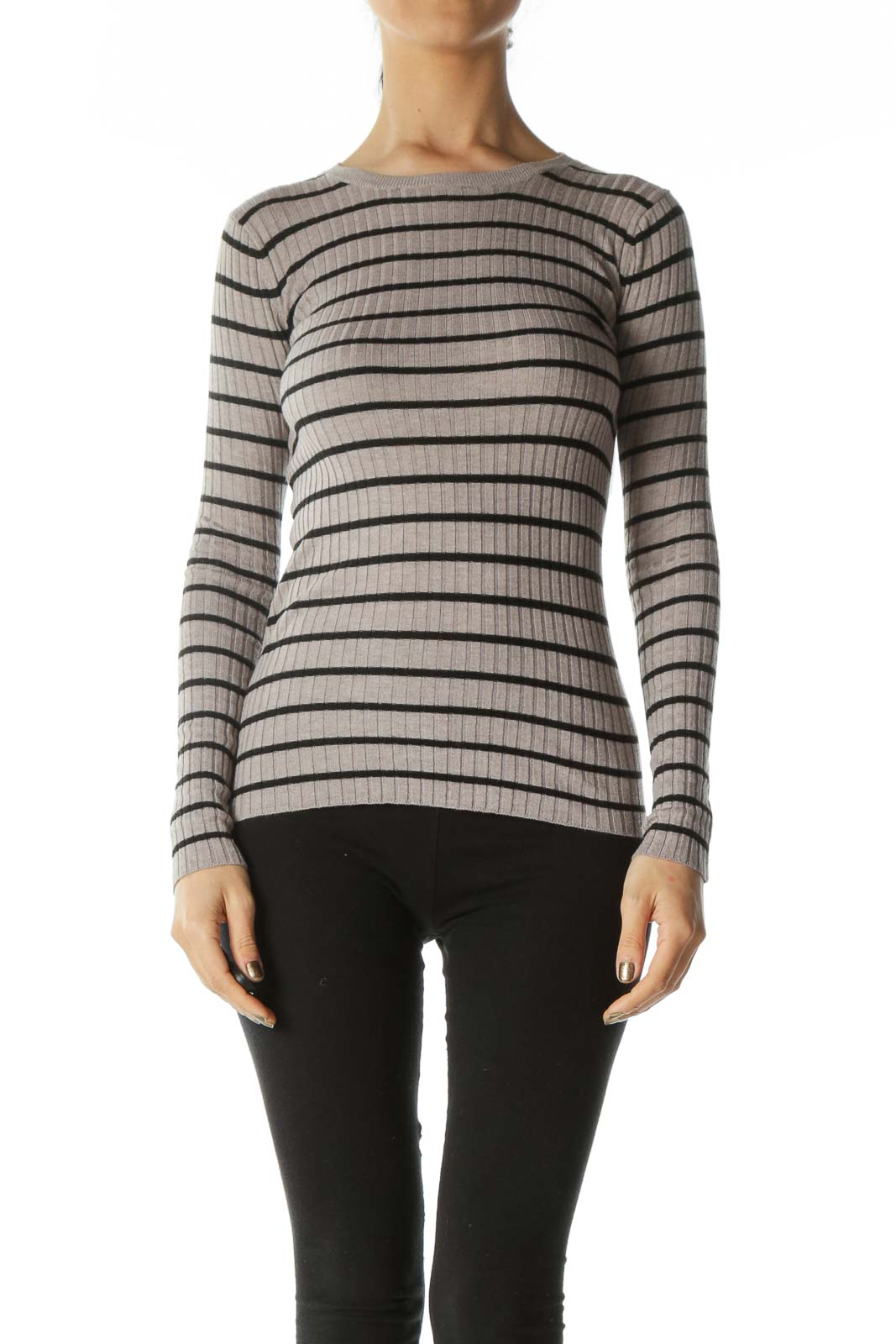 Grey and Black Striped Ribbed Long Sleeve Top Front