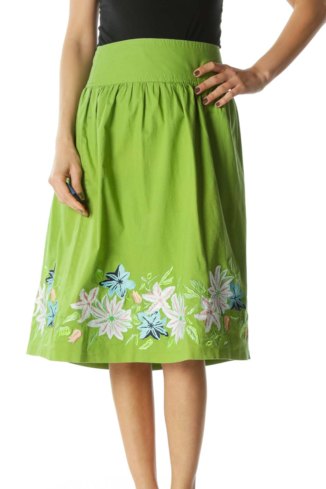 Green A-Line Skirt with Floral Print  Front