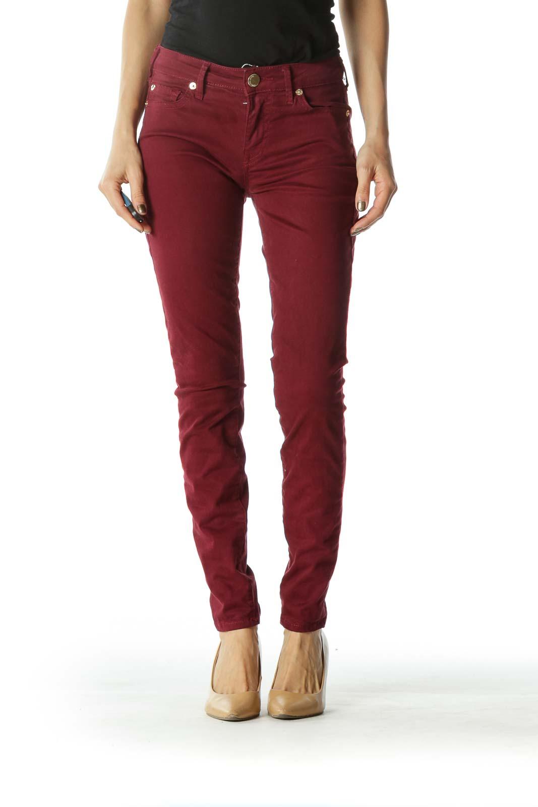 Crimson Red Skinny Pants Front