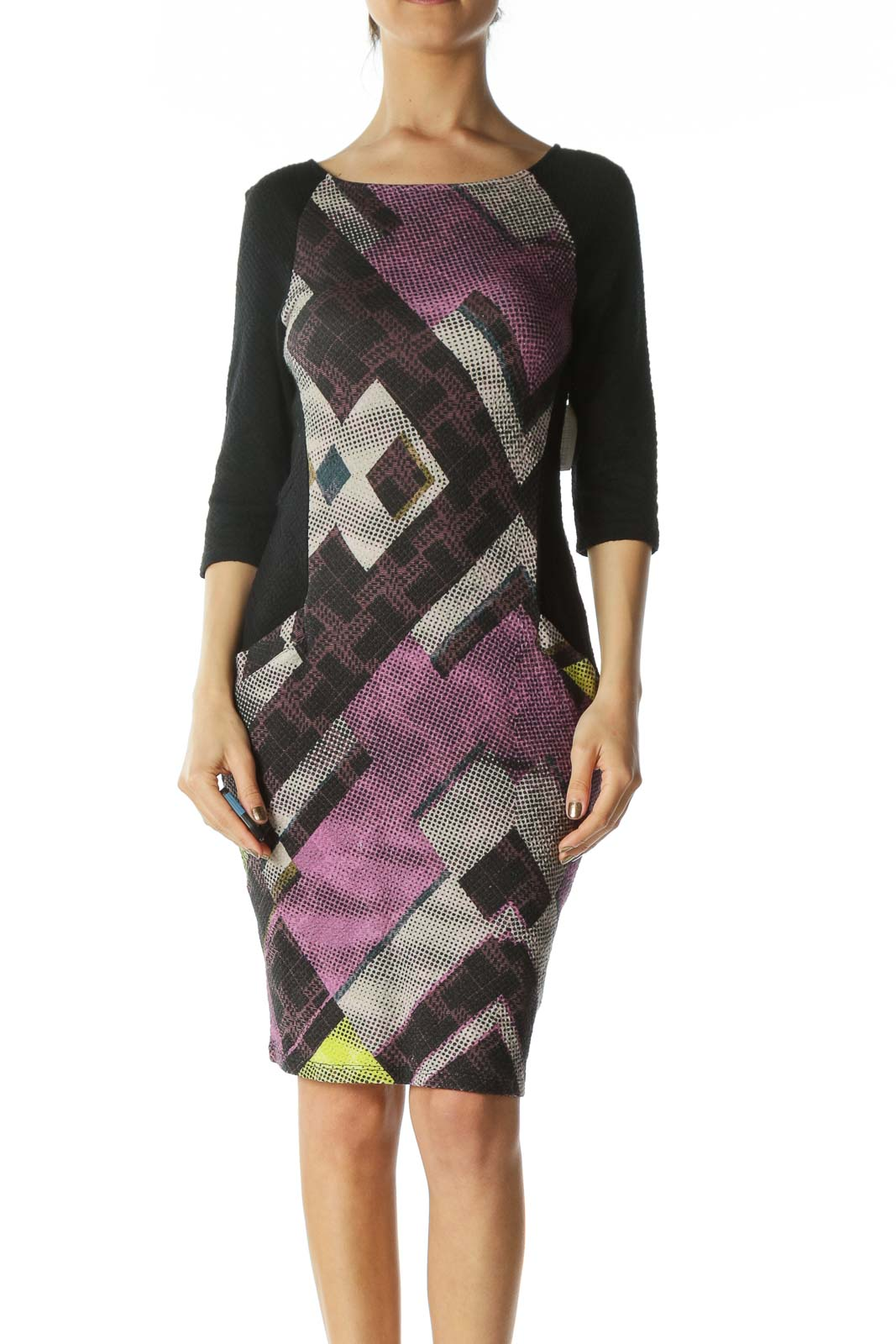 Black and Multicolored Patterned Bodycon Dress  Front