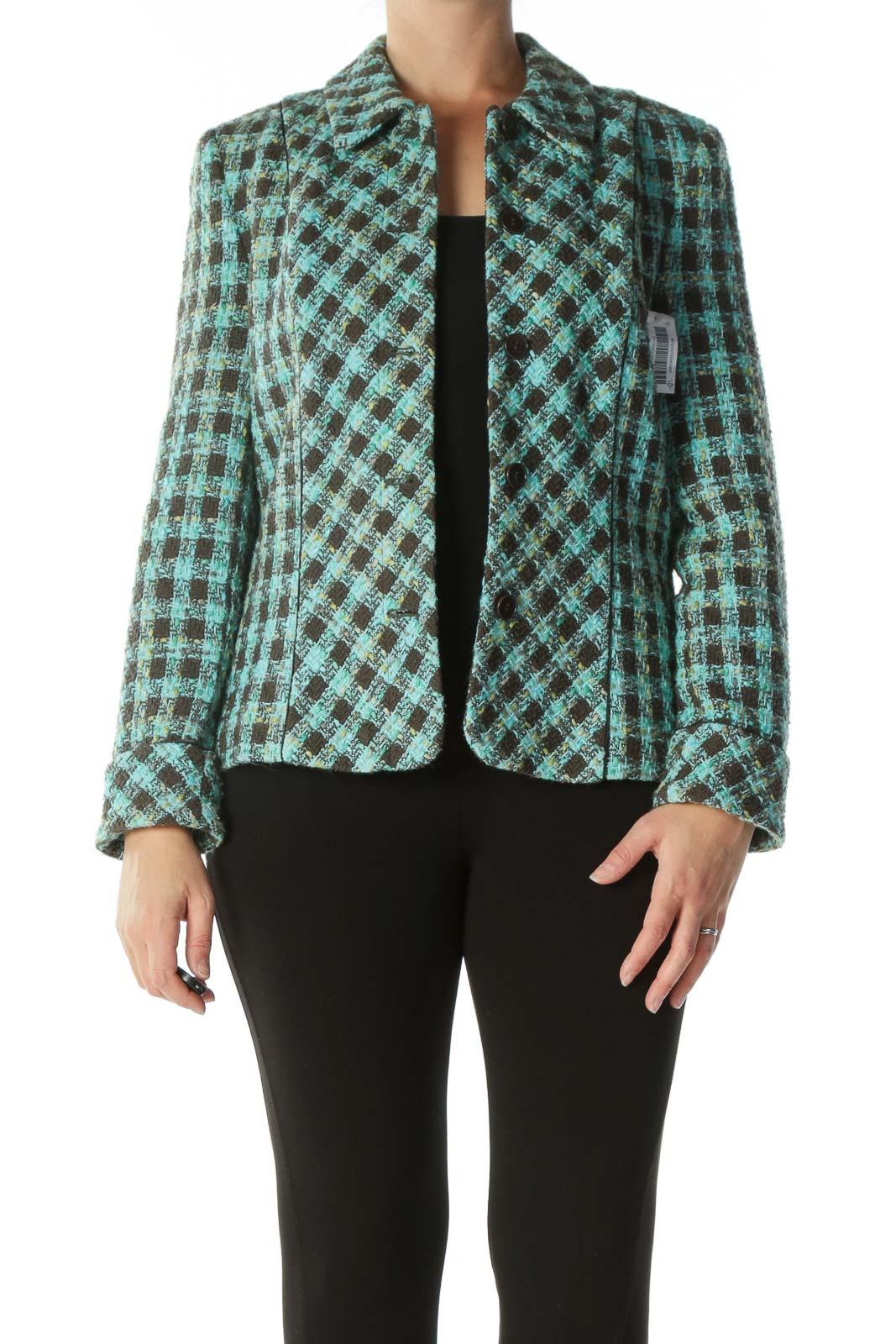 Green Brown Tweed Blazer Front