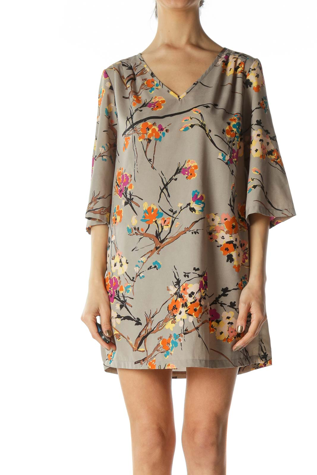 Multicolored Flared-3/4 Sleeves Floral-Print Day Dress Front
