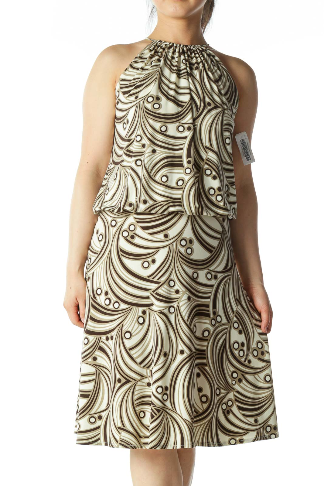 Beige and Multicolor Patterned Dress  Front