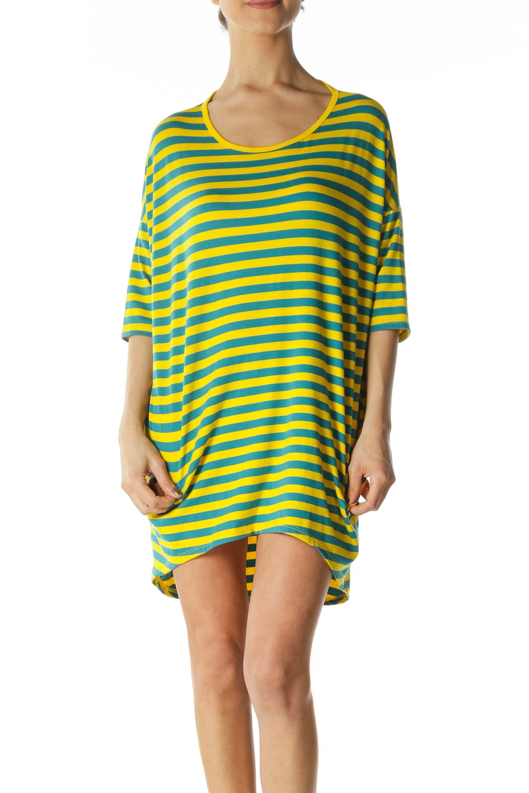 Yellow and Blue Striped Shirt Dress  Front