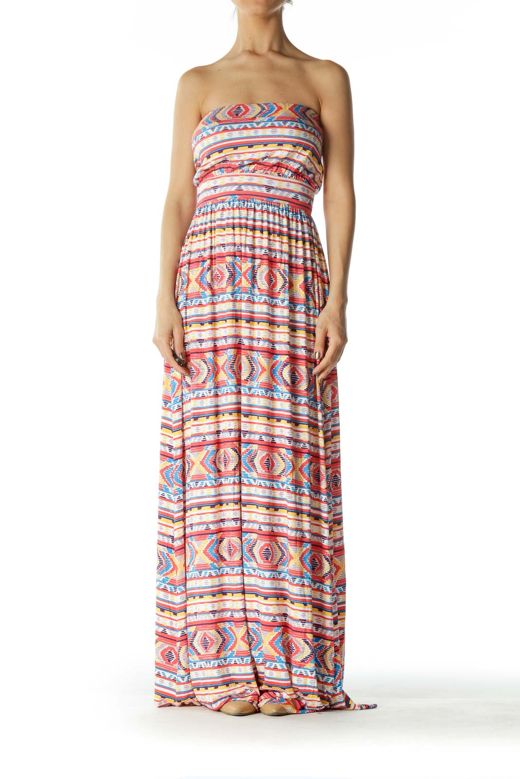 Orange and Multicolored Patterned Maxi Dress  Front