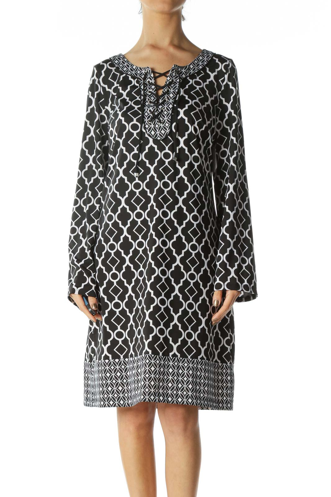 Black and White Patterned Dress  Front