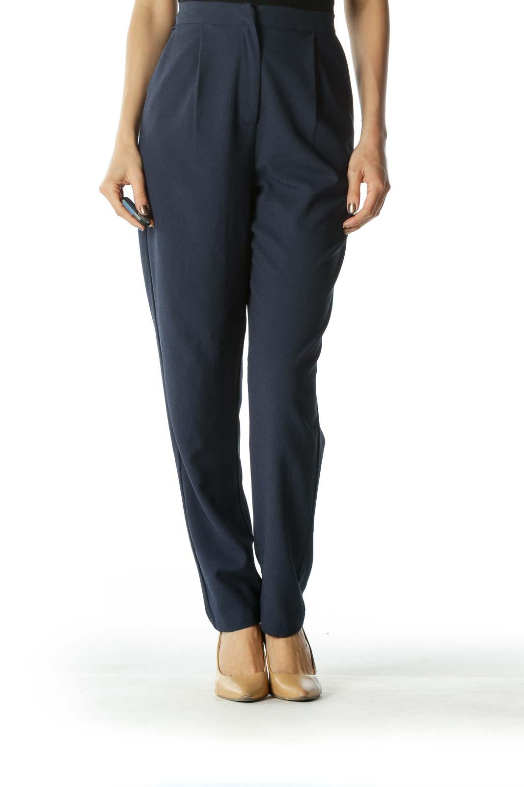 Navy Blue Slim Fit Pants  Front