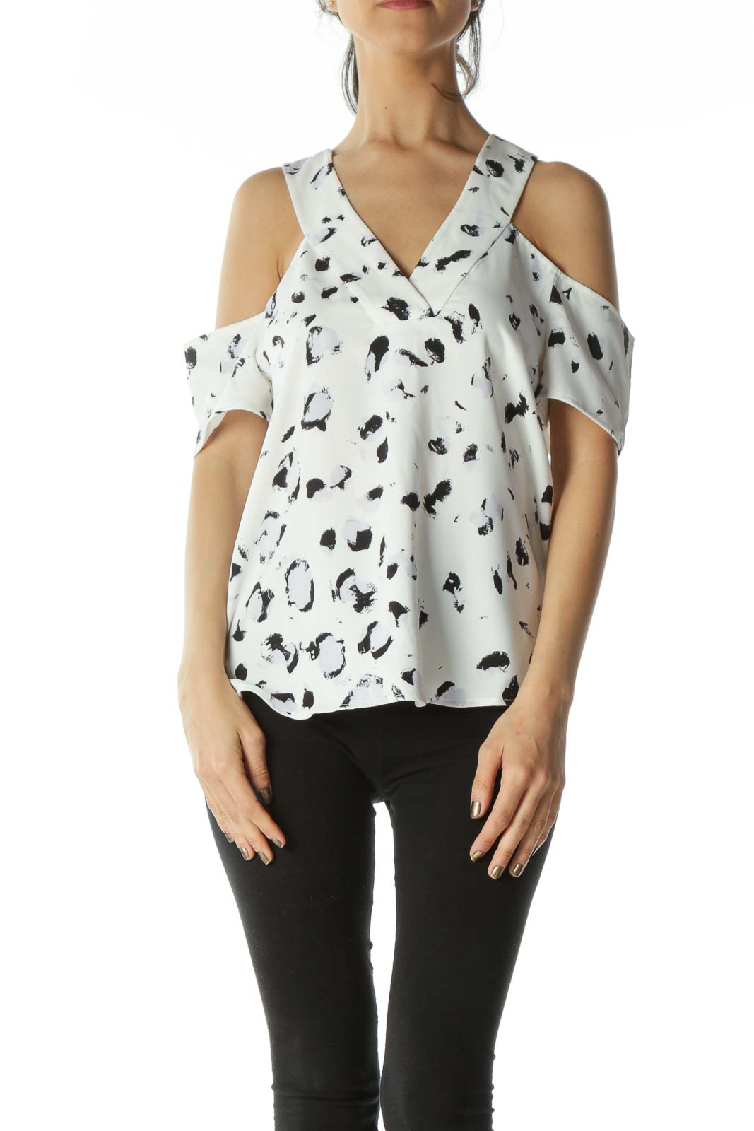 White and Black Graphic Off-The-Shoulder V-Neck Blouse Front