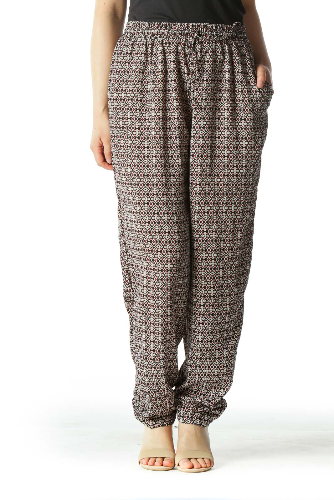 Multicolored Graphic Print High-Waisted Gaucho Pants Front