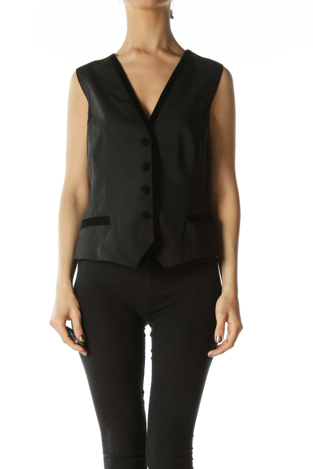 Black Designer Vest with Velvet Piping Front
