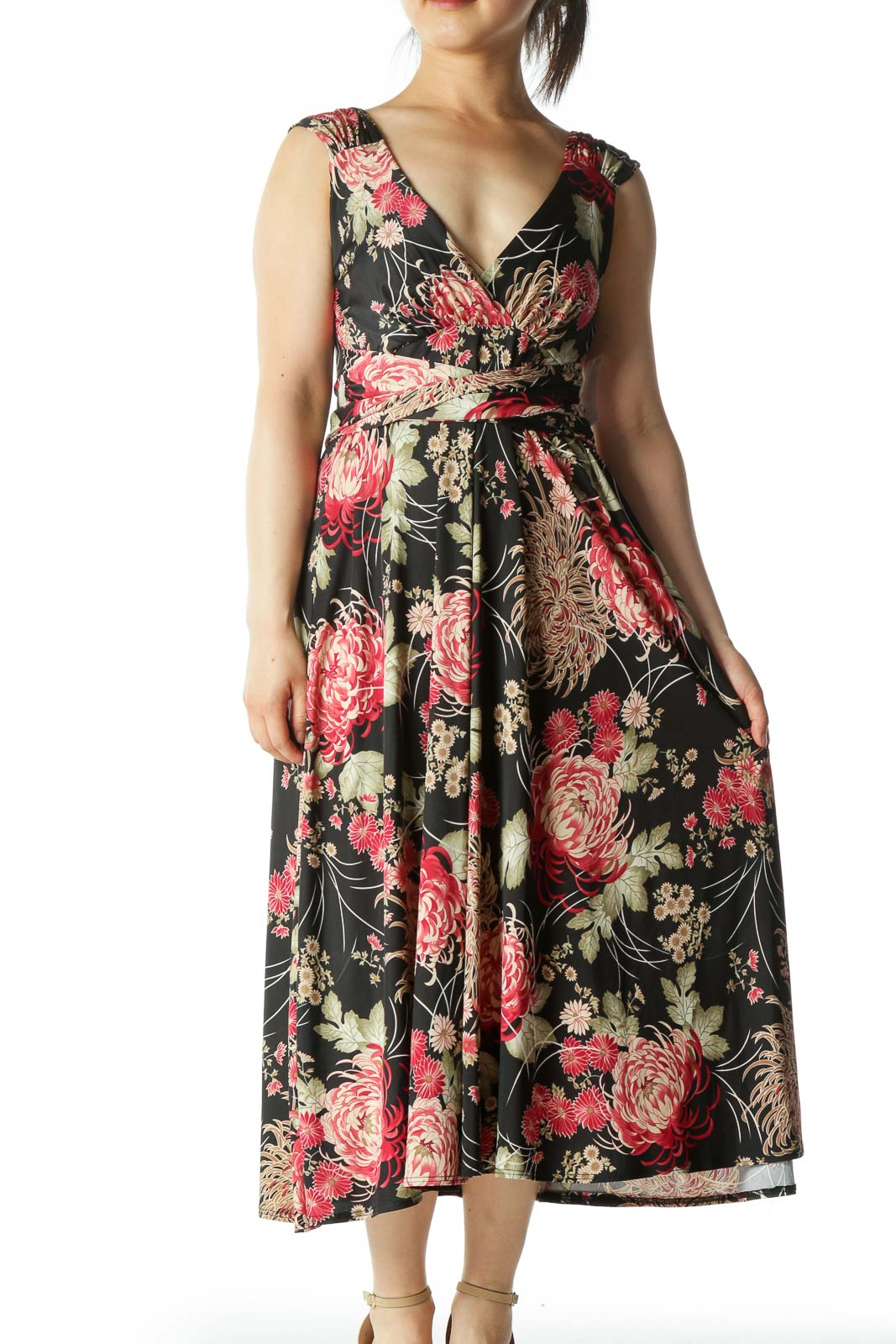 Black and Multicolor Floral Print Dress  Front