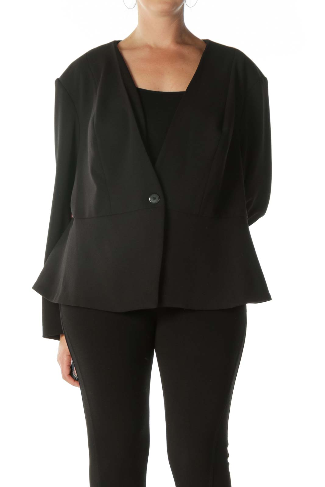 Black Flared Blazer with Padded Shoulders   Front