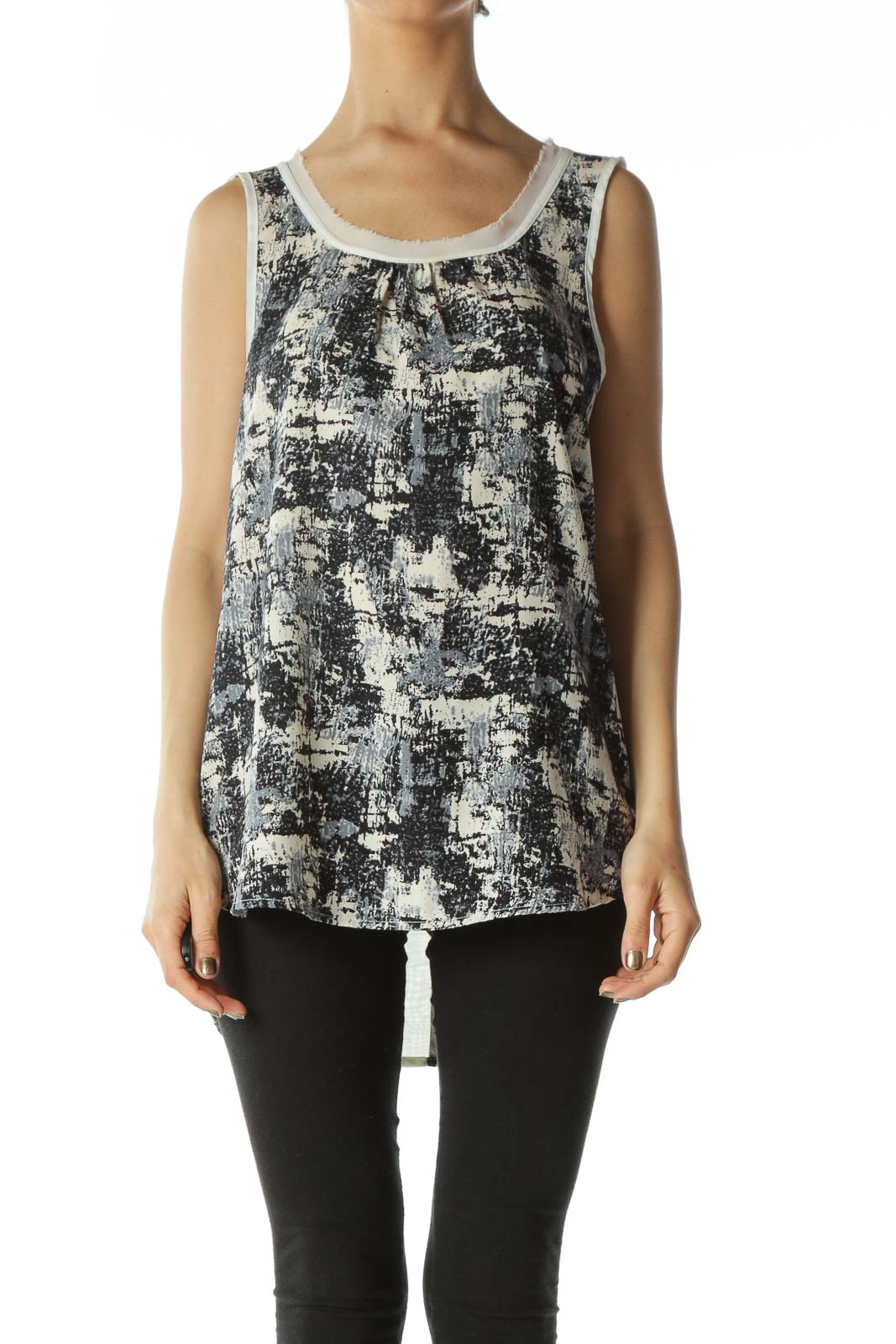 Navy White and Grey Abstract Graphic Sleeveless Blouse with Raw Hem Neckline Front