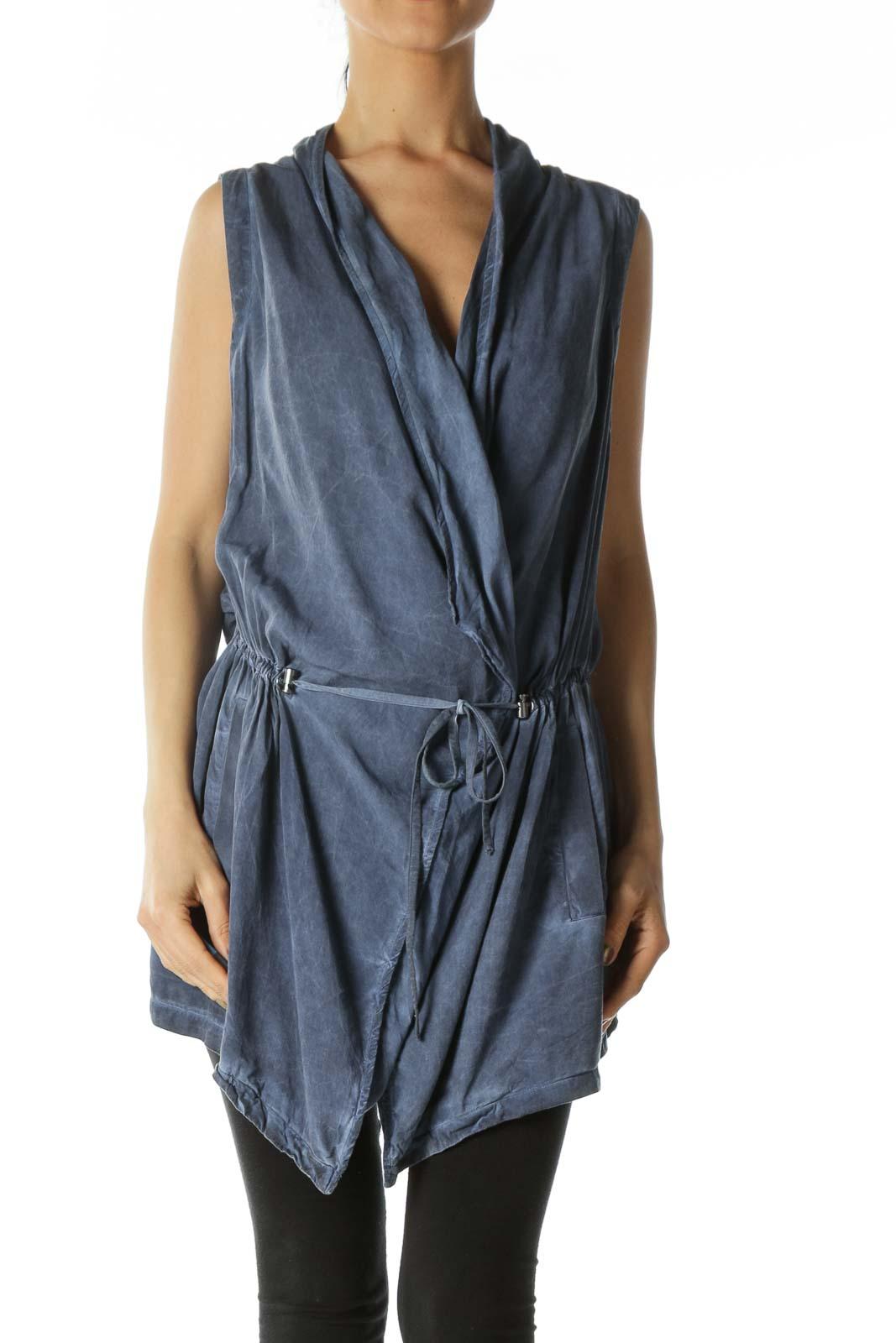 Denim Blue Waist Tie Vest Dress Front
