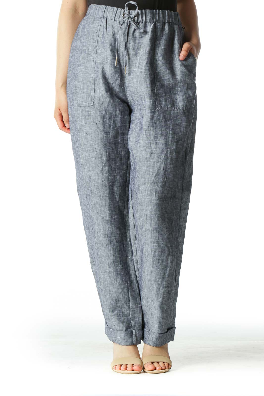 Gray Tapered Cuffed 100% Linen Pants  Front