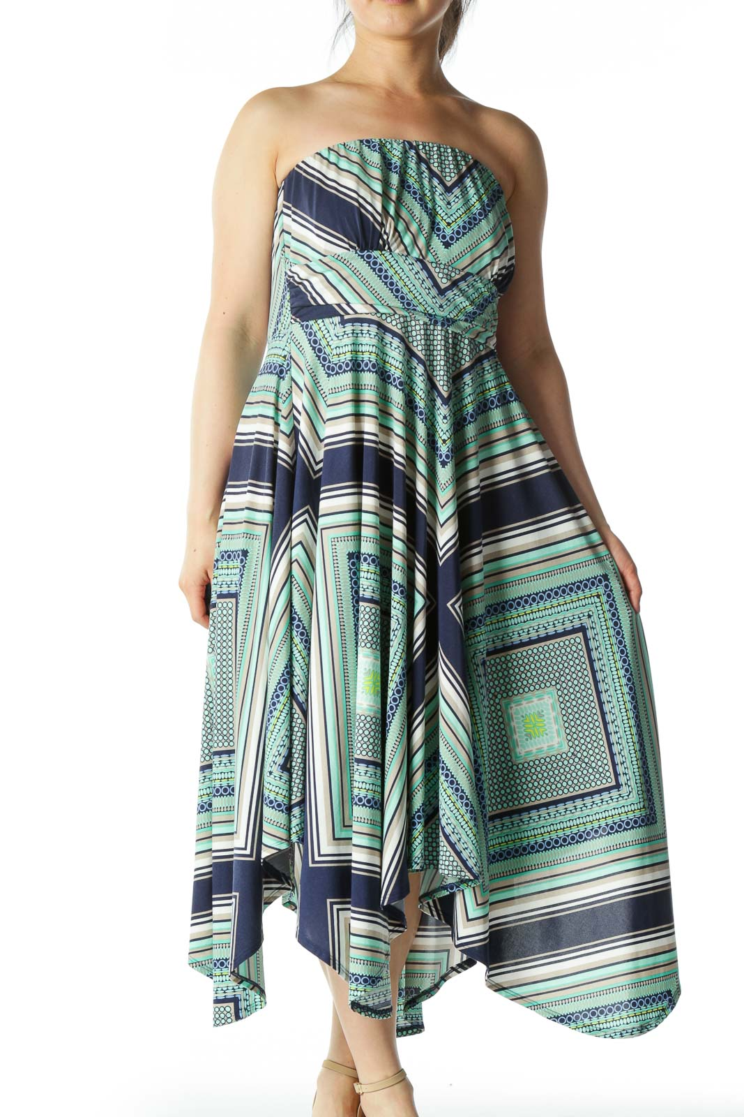 Blue and Green Patterned Strapless Dress  Front