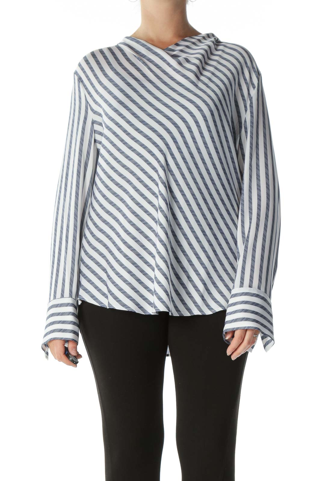 White and Navy Striped Cowl-Neck Long-Sleeve Blouse Front