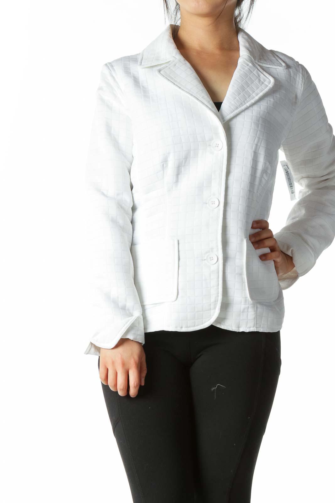 White Windowpane Textured Blazer  Front