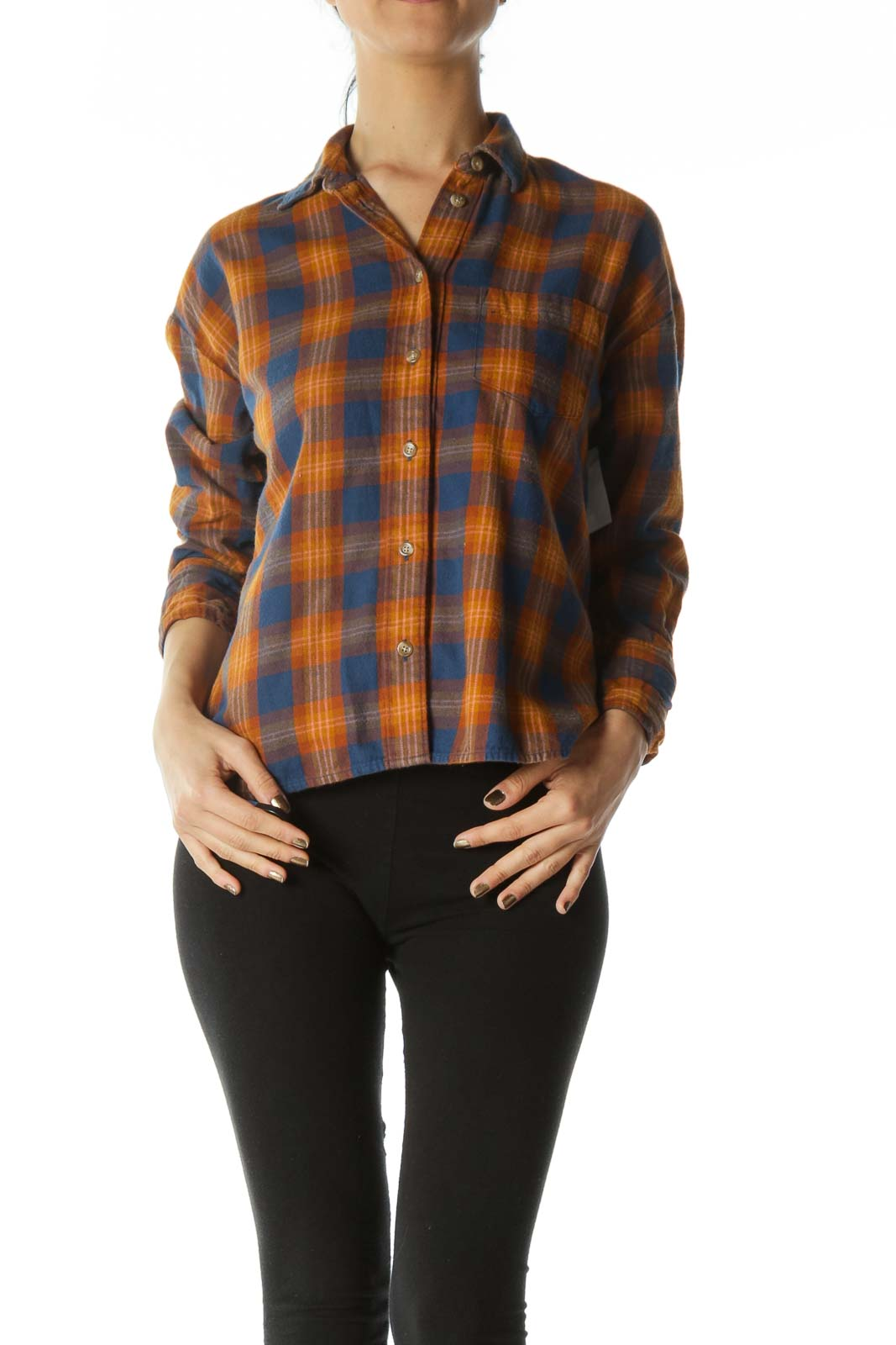 Orange and Blue Plaid Long-Sleeve Button-Down Front
