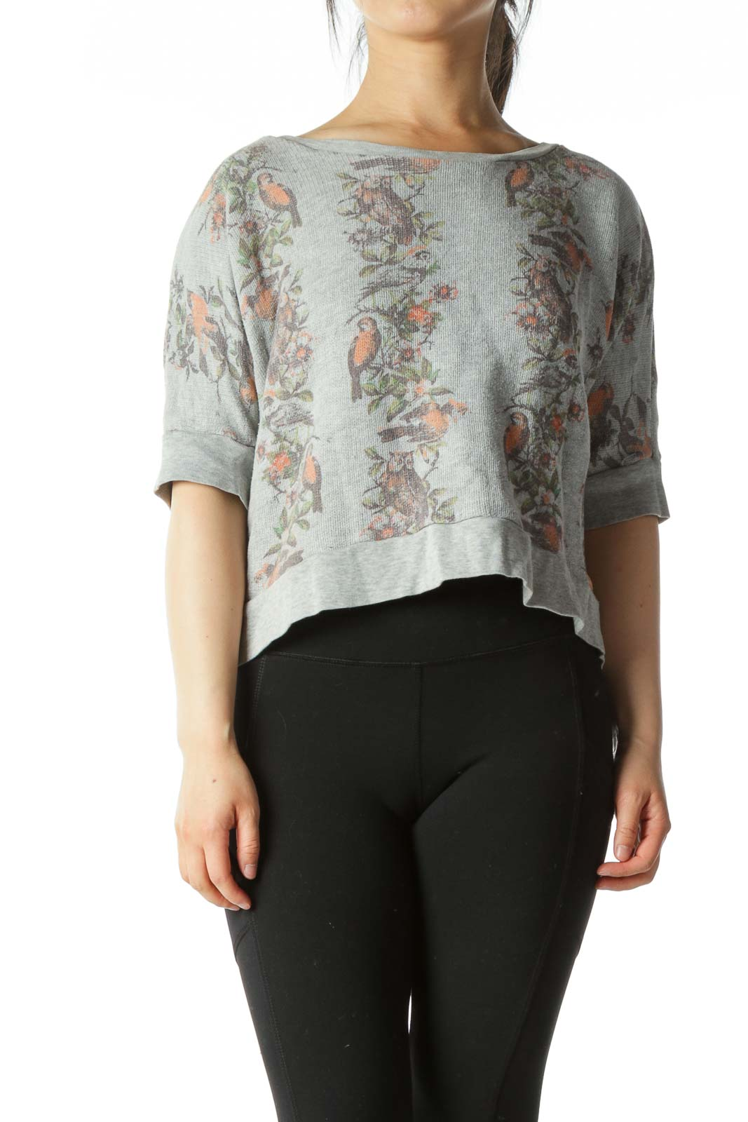 Grey Floral Cropped Short-Sleeve Sweatshirt Front