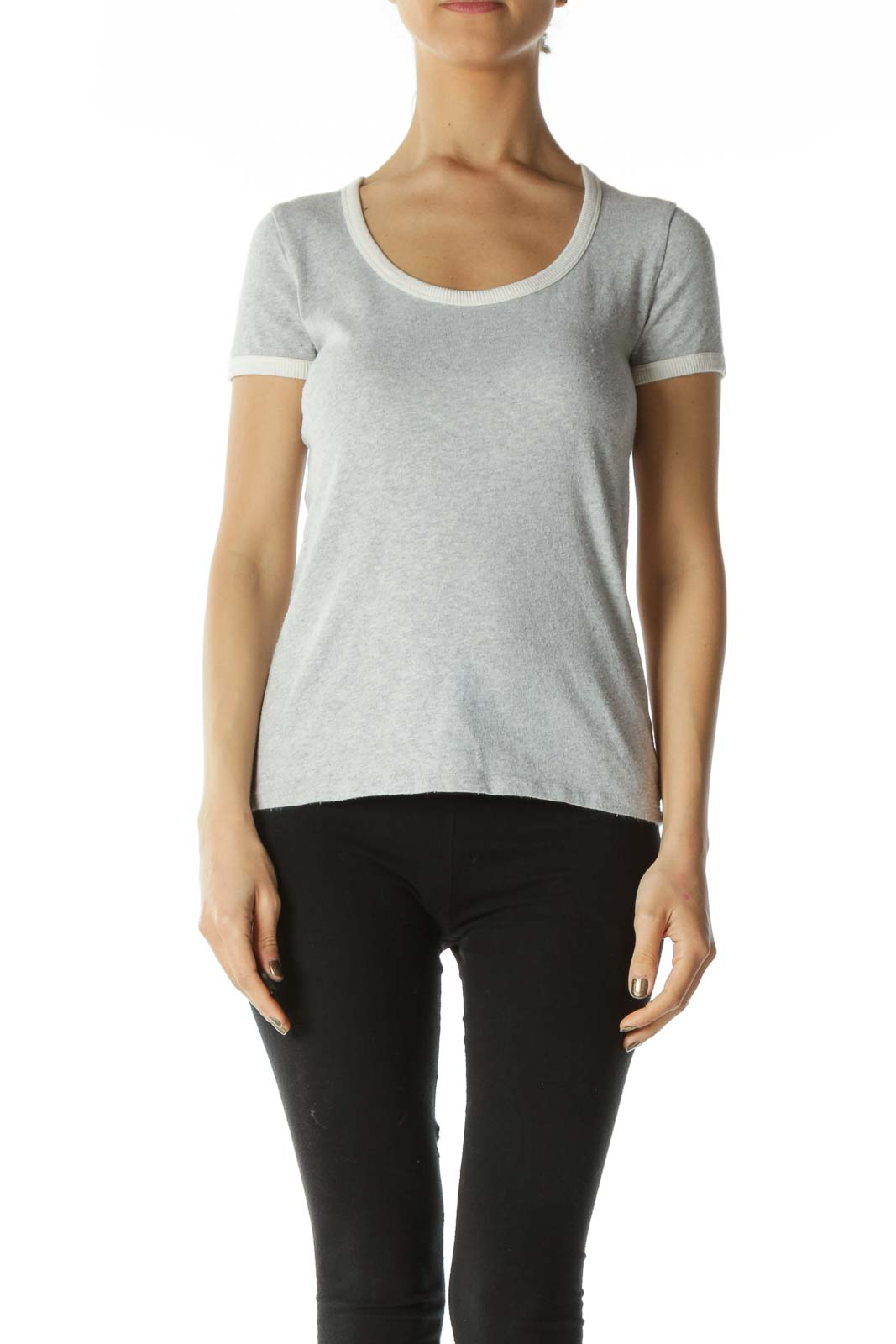 Grey Scoop-Neck Tee with White Neck and Sleeve Bands Front