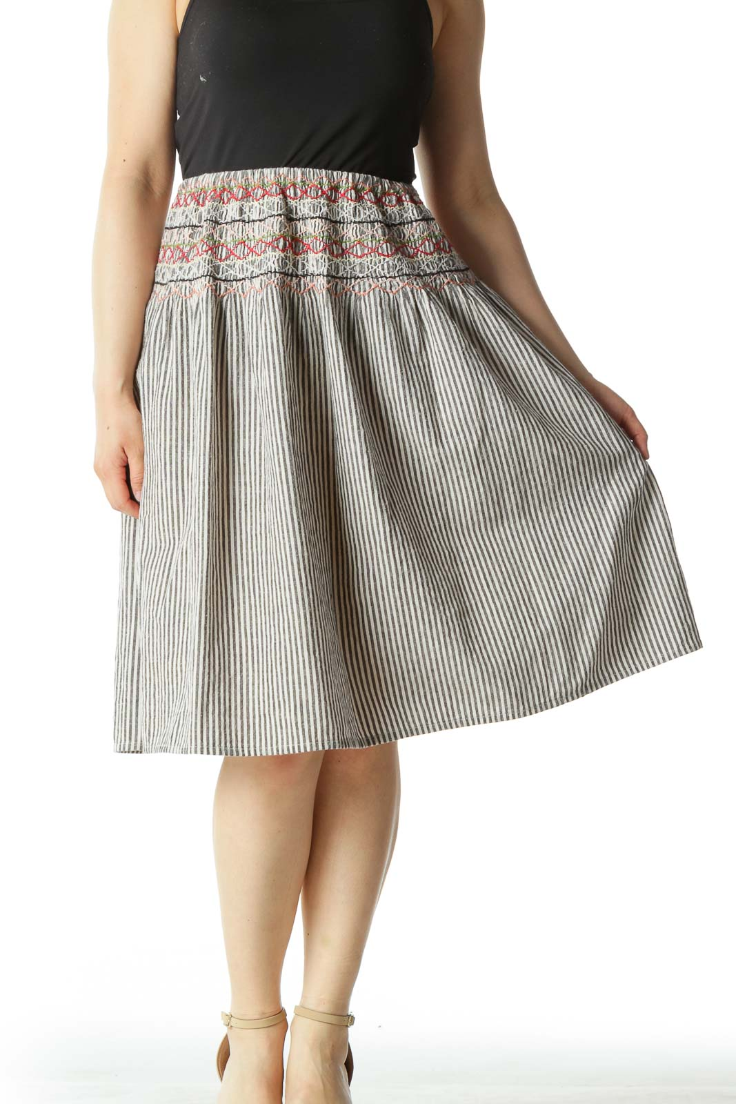 Black Striped A-Line Skirt with Multicolored Pattern Front