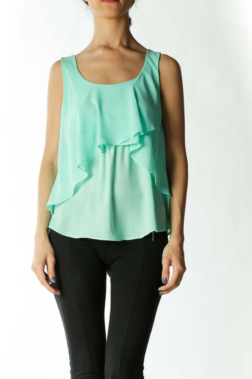 Mint Green Layered Sleeveless Blouse Front