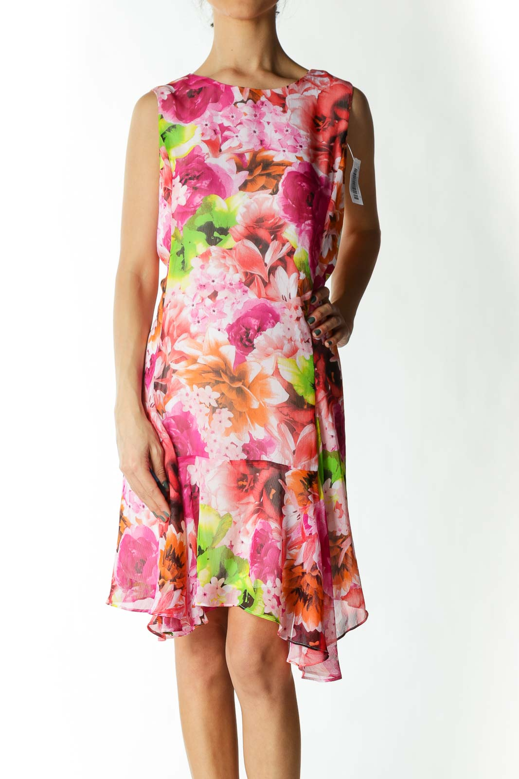 Pink and Orange Floral Print Day Dress  Front